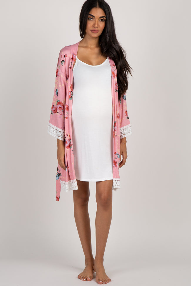 Pink Rose Floral Lace Trim Delivery/Nursing Maternity Robe