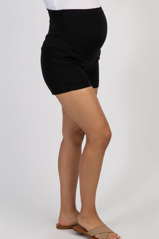 PinkBlush Black Linen Maternity Short