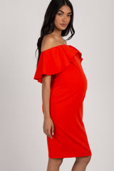 Red Fitted Ruffle Trim Maternity Dress
