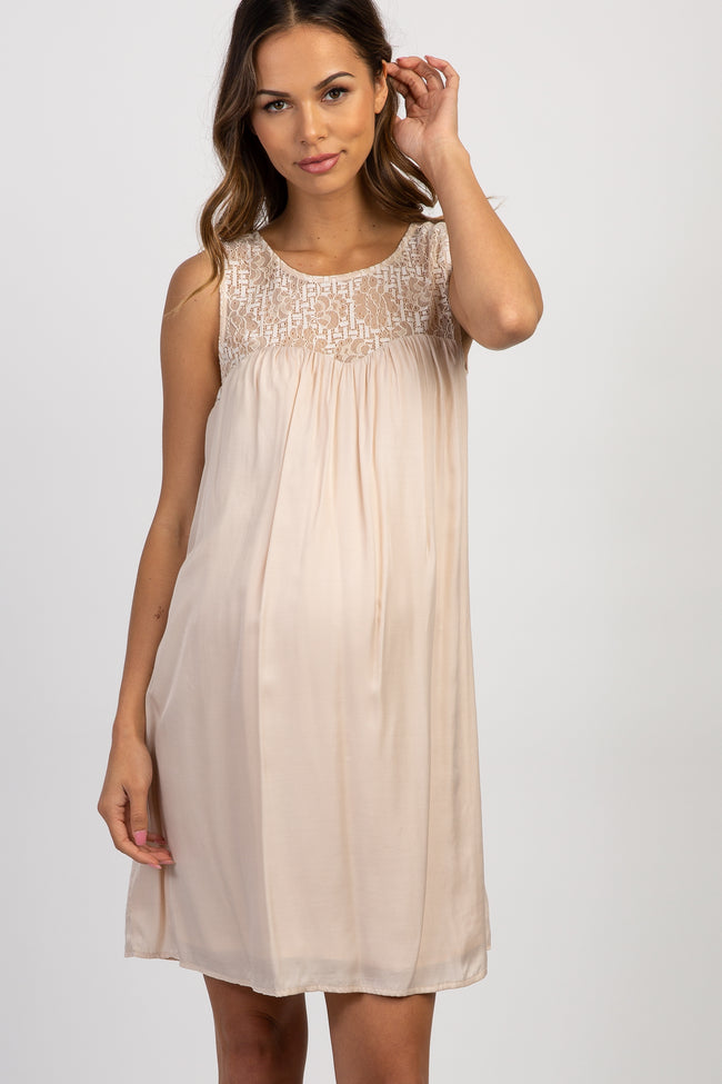 Cream Lace Accent Sleeveless Maternity Dress