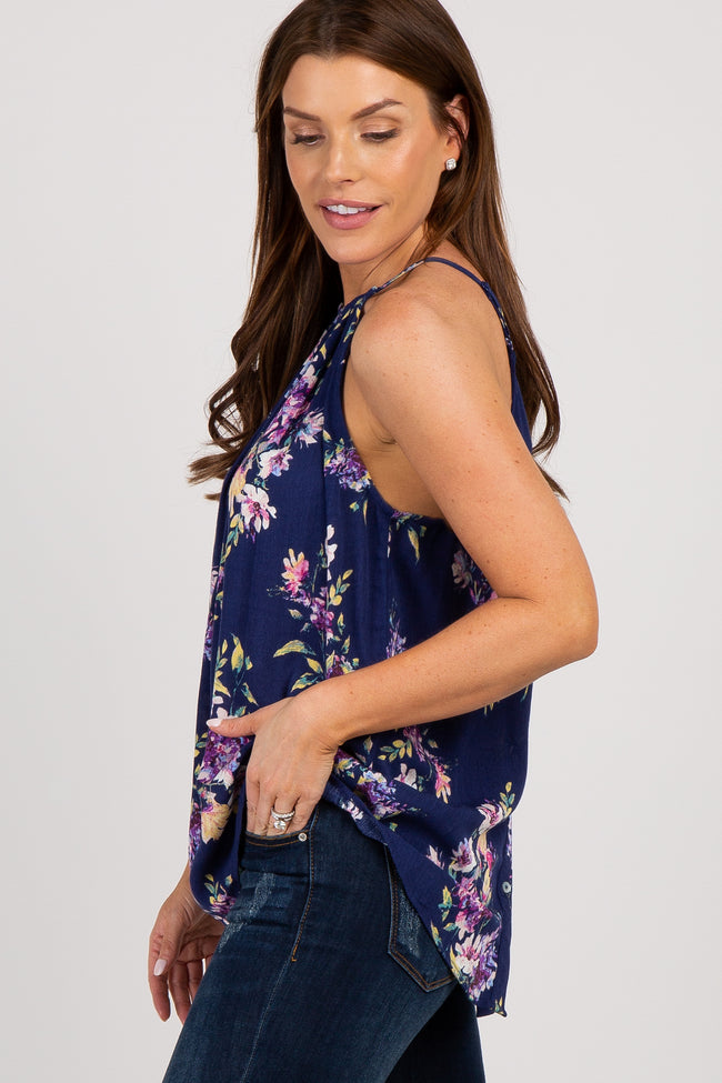 Navy Blue Floral Button Back Top