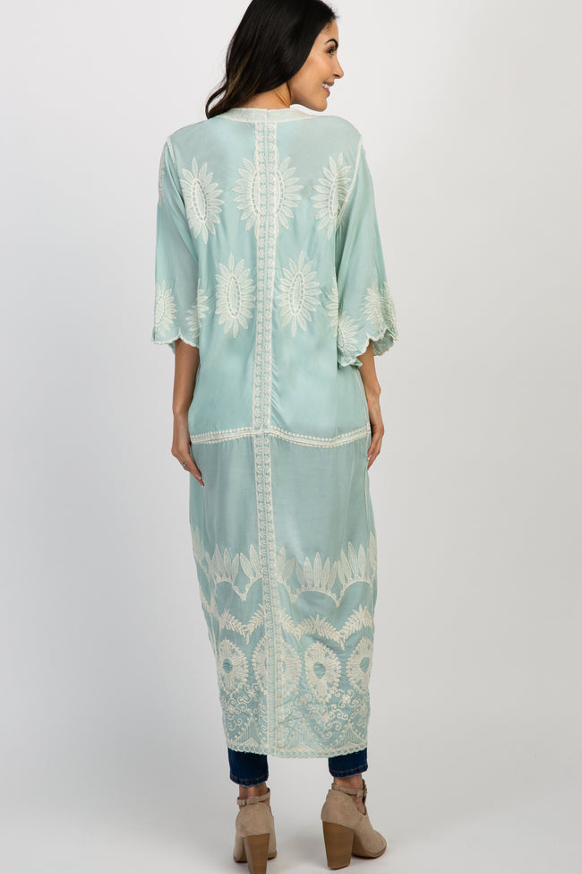 Mint Embroidered Short Sleeve Maternity Kimono