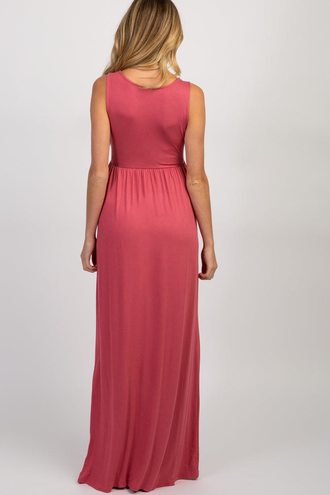 Pink Solid Sleeveless Maternity Maxi Dress