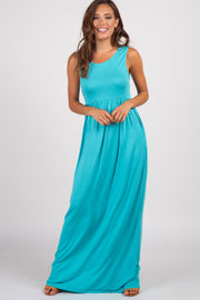 Turquoise Solid Sleeveless Maxi Dress