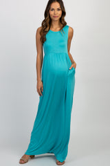 Turquoise Solid Sleeveless Maternity Maxi Dress
