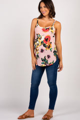 Light Pink Floral Maternity Tank Top