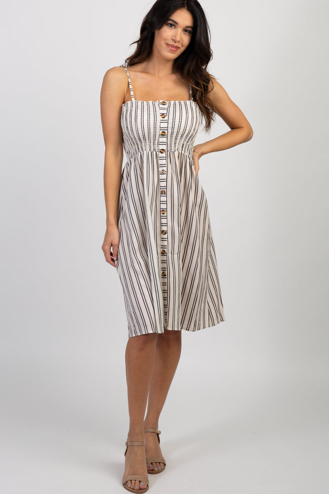 Cream Striped Smocked Button Front Dress