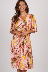 Pink Tropical Ruffle Sleeve Tie Dress