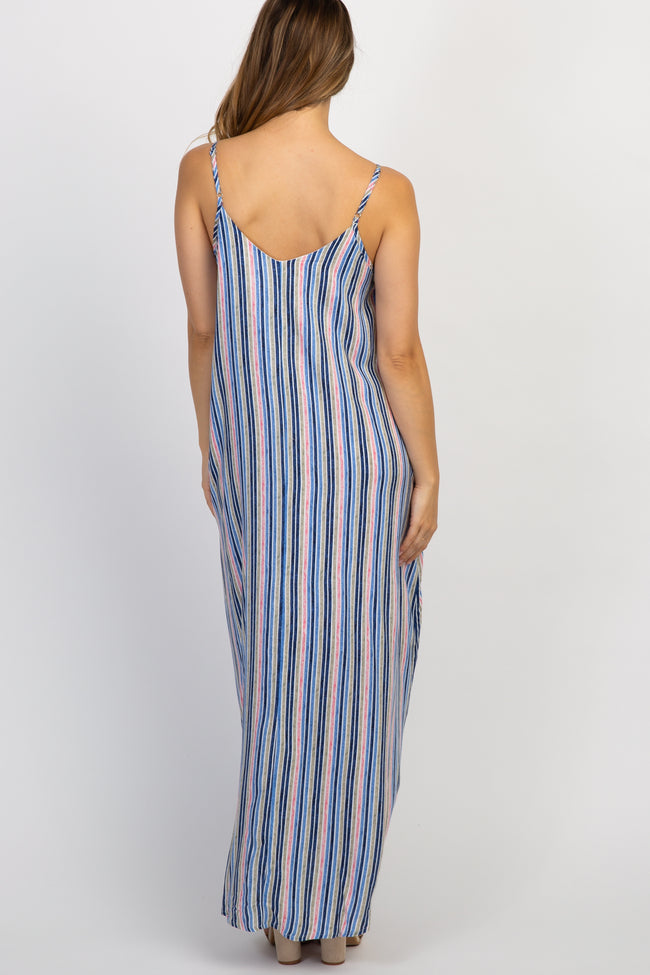 Blue Striped Sleeveless Maternity Maxi Dress