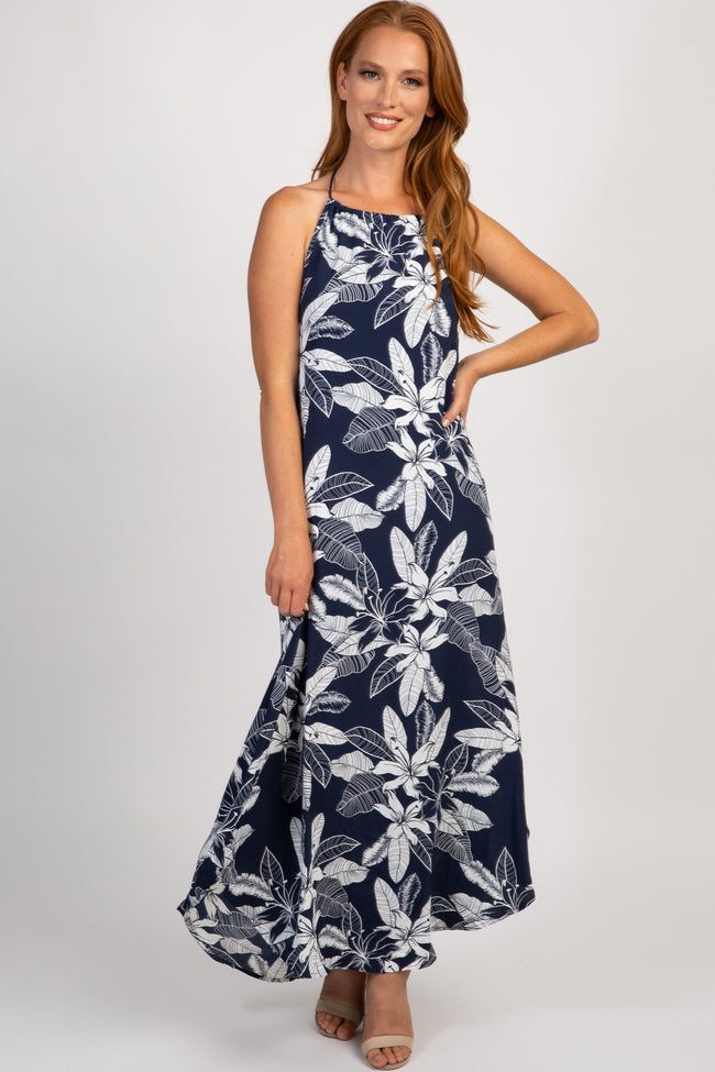 Navy Floral Halter Neck Maxi Dress