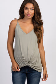 Light Olive Solid Knot Front Cami Strap Maternity Top