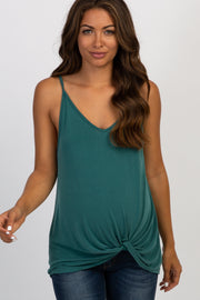 Green Solid Knot Front Cami Strap Maternity Top