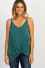 Green Solid Knot Front Cami Strap Top