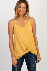 Yellow Solid Knot Front Cami Strap Maternity Top