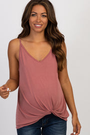 Mauve Solid Knot Front Cami Strap Maternity Top