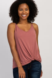 Mauve Solid Knot Front Cami Strap Top