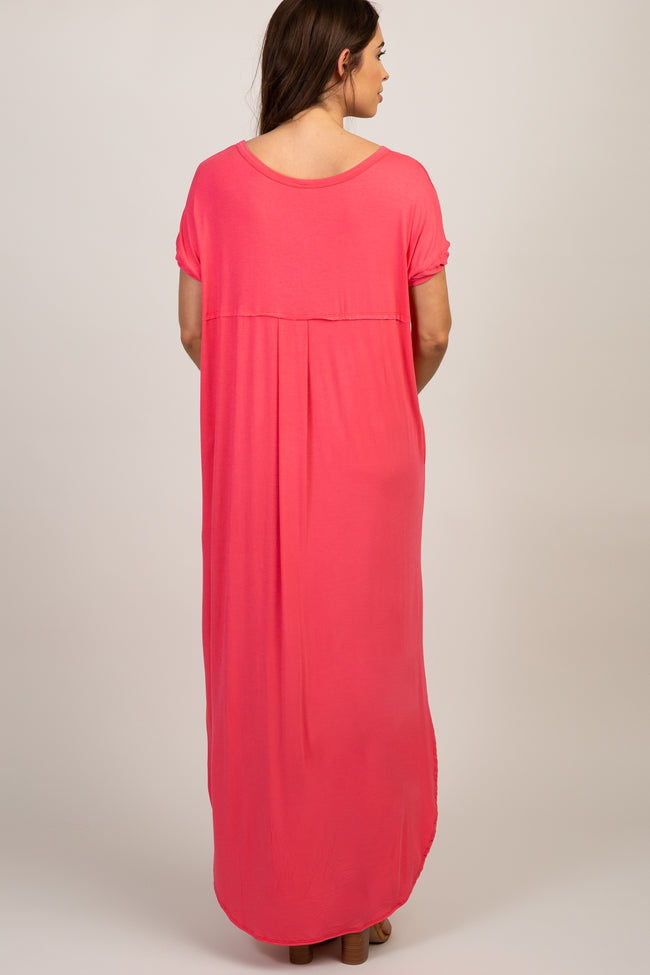 Coral Solid Side Slit Dolman Maternity Maxi Dress