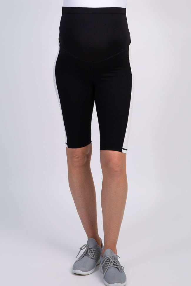 Black Colorblock Maternity Active Shorts