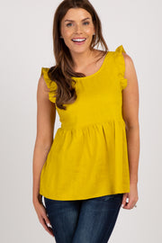 Mustard Solid Ruffle Sleeve Top