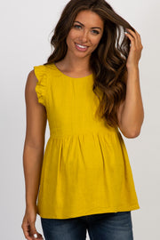 Mustard Solid Ruffle Sleeve Maternity Top
