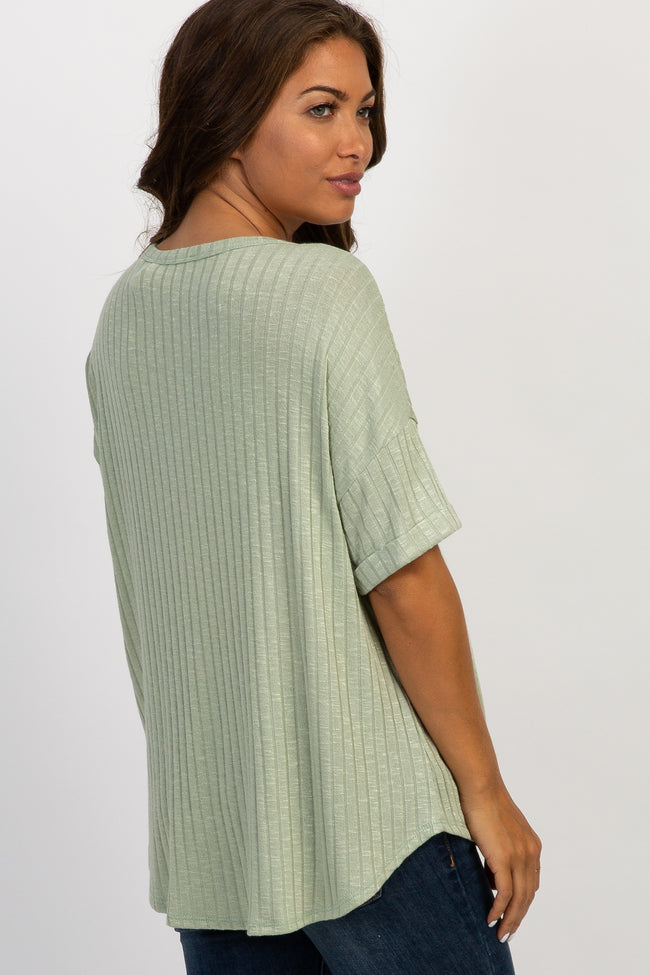 Mint Green Ribbed Short Sleeve Maternity Top