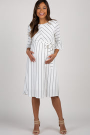 White Striped Ruffle Sleeve Sash Tie Maternity Dress