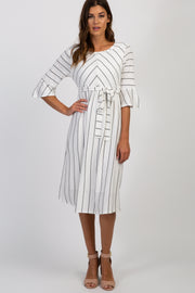 White Striped Ruffle Sleeve Sash Tie Dress