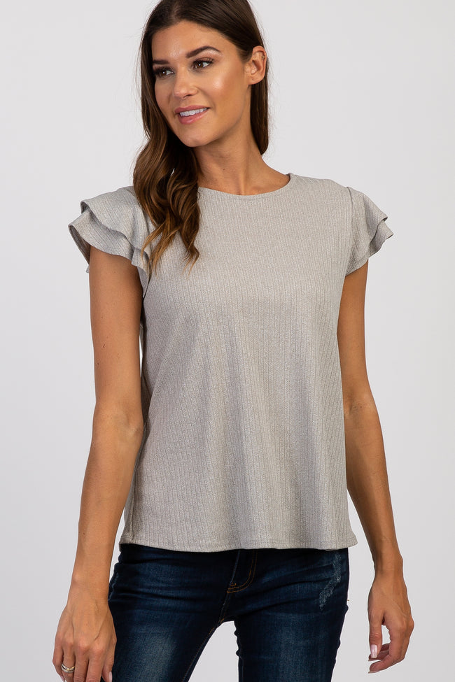Grey Solid Ruffle Sleeve Ribbed Maternity top