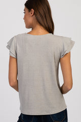 Grey Solid Ruffle Sleeve Ribbed top