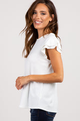 White Solid Ruffle Sleeve Ribbed top