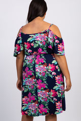 Navy Floral Open Shoulder Plus Dress