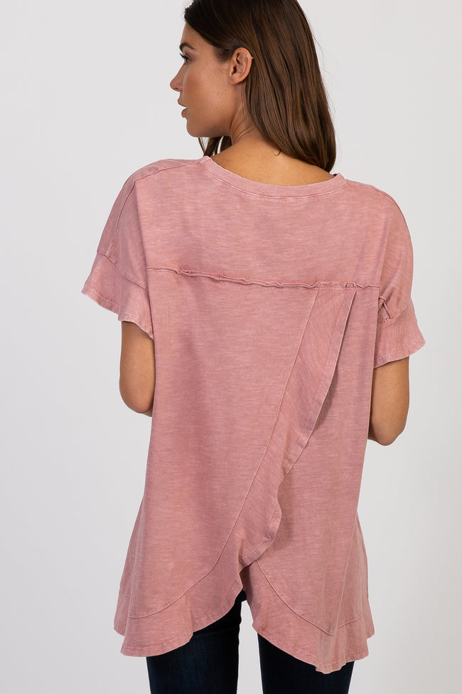 Mauve Heathered Ruffle Layered Wrap Back Top