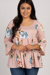 Light Pink Floral Bell Sleeve Peplum Plus Maternity Top
