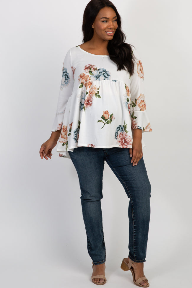 Ivory Floral Bell Sleeve Peplum Plus Maternity Top