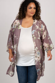 Grey Floral Draped Plus Maternity Kimono