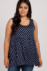 Navy Polka Dot Sleeveless Plus Maternity Top