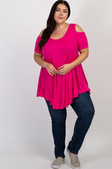 Fuchsia Basic Cold Shoulder Plus Tunic