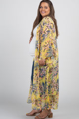Yellow Floral Long Plus Maternity Kimono