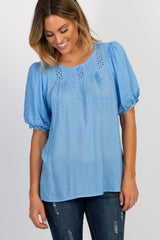 Blue Swiss Dot Crochet Accent Blouse