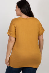 Yellow Pocket Accent Short Sleeve Plus Top