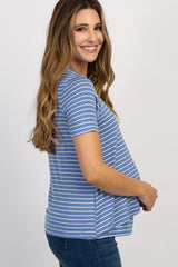 Blue Striped Layered Wrap Front Maternity Nursing Top