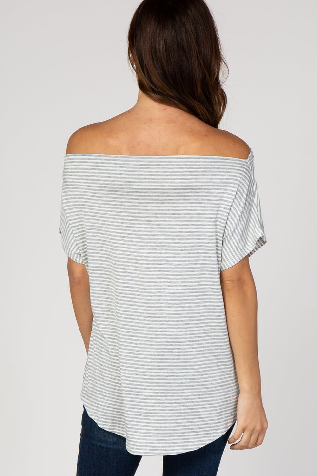 Heather Grey Striped Wide Neck Front Tie Short Sleeve Top