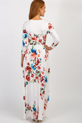 Ivory Floral Print 3/4 Sleeve Maxi Dress
