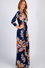 Navy Floral 3/4 Sleeve Maxi Dress