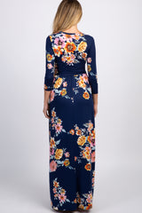 Navy Floral Maternity Maxi Dress