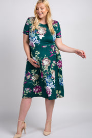 Green Floral Maternity Plus Midi Dress
