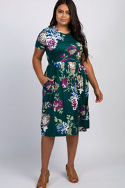 Green Floral Plus Midi Dress