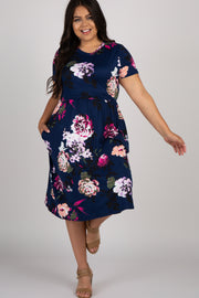 Navy Blue Floral Plus Midi Dress