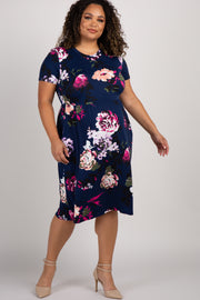 Navy Blue Floral Plus Maternity Midi Dress