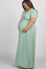 Mint Green Knotted Front Plus Maternity Maxi Dress